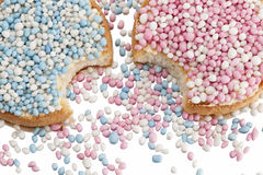 Rusks with white and blue anise seed sprinkles Royalty Free Stock Photo