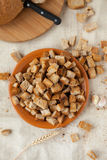 Rusks of white bread, top view Stock Photo