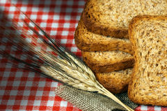 Rusks of Wholemeal Flour with Ears of Wheat Stock Images