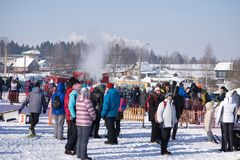 Rusland Berezniki 11 Maart 2018: Skiclub tyagachev-Oude Leonid Stock Fotografie