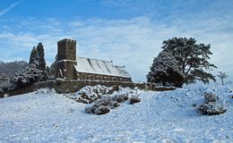 Rusland Church after the Snows Stock Photos