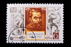 Rusland - CIRCA 1964: Een zegel Michelangelo Stock Afbeeldingen