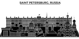 Rusland, de architectuur stedelijke horizon van Heilige Petersburg met oriëntatiepunten, cityscape, gebouwen, huizen, vectorstads stock illustratie