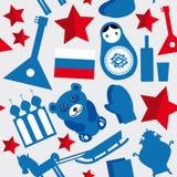 Rusland, de USSR Naadloos zwart patroon, blauw, rood op grijze achtergrond Royalty-vrije Stock Fotografie
