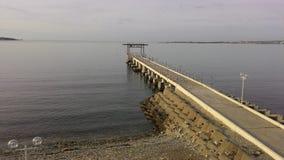 Rusland De Zwarte Zee Gelendzhik Pijler Zeemeeuw straatlantaarn Royalty-vrije Stock Afbeelding