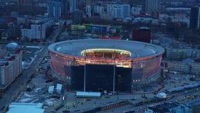 Rusland Ekaterinburg, Repin-straat, 5, het Stadion ?arena Yekaterinburg ?2019 04 07 stock videobeelden