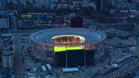 Rusland Ekaterinburg, Repin-straat, 5, het Stadion ?arena Yekaterinburg ?2019 04 07 stock footage