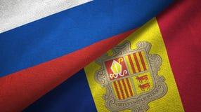 Rusland en Andorra twee vlaggen textieldoek, stoffentextuur vector illustratie