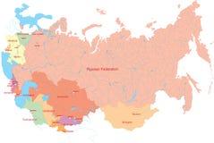 Rusland en het meest dichtbij countrys kaart Royalty-vrije Stock Fotografie
