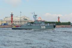 Rusland, heilige-Petersburg, 30 Juli, 2017 - de Marinemijnen van de dagparade Stock Foto