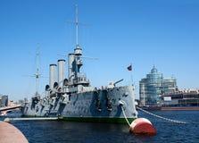 "Rusland. Heilige-Petersburg.the kruiser ""Dageraad"". Stock Foto"