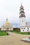 Rusland Kathedraal spaso-Preobrazhensky en klokketoren in Nevyansk stock afbeelding