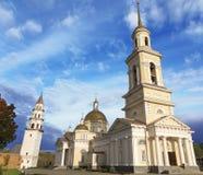 Rusland Kathedraal spaso-Preobrazhensky en klokketoren in Nevyansk royalty-vrije stock afbeeldingen