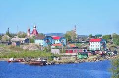 Rusland, Kola Peninsula, oud pomorian dorp Varzuga Stock Foto's