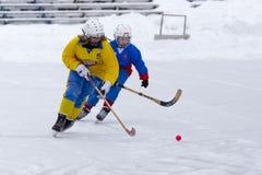 RUSLAND, KOROLEV - 15 JANUARI, 2015: kromme het hockeyliga van 3 het stadiumkinderen van D, Rusland Stock Foto