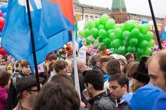 05/01/2015 Rusland, Moskou Demonstratie op rood vierkant Arbeid DA Stock Afbeeldingen