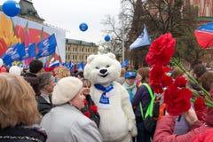 05/01/2015 Rusland, Moskou Demonstratie op rood vierkant Arbeid DA Stock Foto