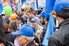05/01/2015 Rusland, Moskou Demonstratie op rood vierkant Arbeid DA Royalty-vrije Stock Foto's
