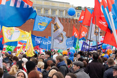 05/01/2015 Rusland, Moskou Demonstratie op rood vierkant Arbeid DA Stock Afbeelding