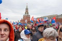 05/01/2015 Rusland, Moskou Demonstratie op rood vierkant Arbeid DA Royalty-vrije Stock Foto