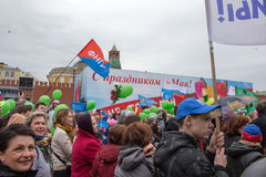 05/01/2015 Rusland, Moskou Demonstratie op rood vierkant Arbeid DA Stock Foto's