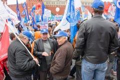 05/01/2015 Rusland, Moskou Demonstratie op rood vierkant Arbeid DA Royalty-vrije Stock Afbeeldingen