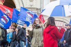 05/01/2015 Rusland, Moskou Demonstratie op rood vierkant Arbeid DA Stock Fotografie