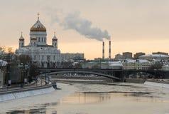 Rusland. Moskou. Kathedraal van Christus de Redder stock foto's