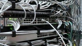 RUSLAND, MOSKOU - Mei 15, 2018: Ingenieur die in een datacentrum werken De mannelijke hand neemt de datumkabel in Internet op stock footage