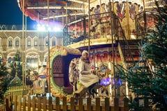Rusland, Moskou, Nieuwjaar` s Markt, Kerstmismarkt op Rood Vierkant Stock Foto