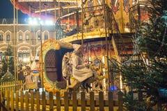 Rusland, Moskou, Nieuwjaar` s Markt, Kerstmismarkt op Rood Vierkant Stock Afbeeldingen
