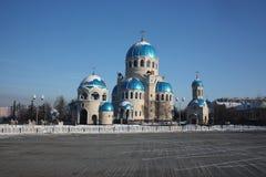 Rusland, Moskou. Tempel van de Heilige Drievuldigheid Royalty-vrije Stock Afbeeldingen