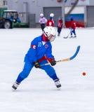 RUSLAND, OBUKHOVO- 26 DECEMBER, 2015: 1st stadium van kromme de Liga van het Kinderen` s hockey, Rusland Royalty-vrije Stock Afbeelding