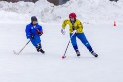 RUSLAND, OBUKHOVO- 19 FEBRUARI, 2016: 3 D stadium van kromme de Liga van het Kinderen` s hockey, Rusland Royalty-vrije Stock Foto
