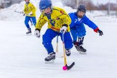 RUSLAND, OBUKHOVO- 19 FEBRUARI, 2016: 3 D stadium van kromme de Liga van het Kinderen` s hockey, Rusland Stock Afbeelding