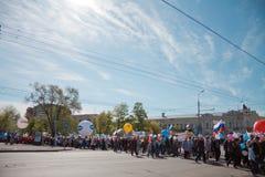 RUSLAND, PENZA - MEI 1: De demonstratie van de meidag Royalty-vrije Stock Afbeeldingen