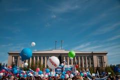 RUSLAND, PENZA - MEI 1: De demonstratie van de meidag Stock Foto's