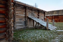 Rusland Petrozavodsk Het Etnografische die Museum van Sheltozeroveps na R wordt genoemd P Lonin 15 november, 2017 Stock Foto's