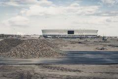 Rusland ROSTOV TREKT AAN - CIRCE OKTOBER, 2017: De bouw van voetbalstadion voor de Wereldbeker in 2018 op de linkeroever van  Royalty-vrije Stock Foto