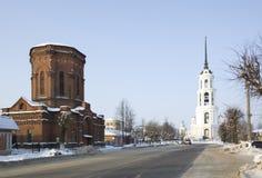 Rusland, Shuya, Sverdlov straat, klokketoren Royalty-vrije Stock Afbeelding
