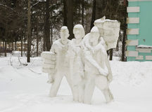 Rusland, sovjetbeeldhouwwerk Drie pioniers Royalty-vrije Stock Fotografie