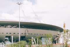 Rusland, St. Petersburg, 2016: Arena van het het Stadionzenit van bouw de Nieuwe Zenit, UEFA, gazprom-Arena Stock Foto's