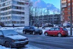 Rusland, St. Petersburg, Straat 17.01.2013 in een moderne slaap a Royalty-vrije Stock Fotografie