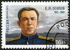 RUSLAND - 2015: toont Evgeny Yakovlevich Osipov 1913-1943, reeks held-submariners Royalty-vrije Stock Afbeeldingen
