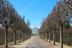 Rusland, Tsarskoye Selo Het park en Catherine Palace van Catherine stock afbeelding