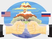Rusland versus Amerika, Kernexplosie Stock Foto's