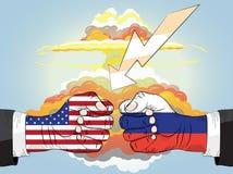 Rusland versus de V.S., Kernexplosie Vuisten in Effect Stock Fotografie