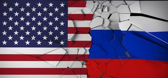 Rusland versus het Conceptenvlaggen van de Verenigde Staten van Amerika Stock Afbeelding