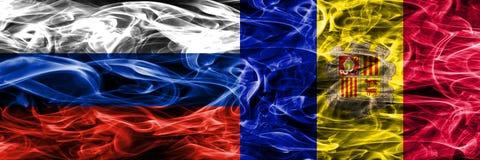 Rusland versus zij aan zij geplaatste de rookvlaggen van Andorra vector illustratie