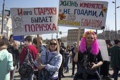 Rusland viert Absurd en Onlogisch in Jaarlijkse Monstration royalty-vrije stock foto